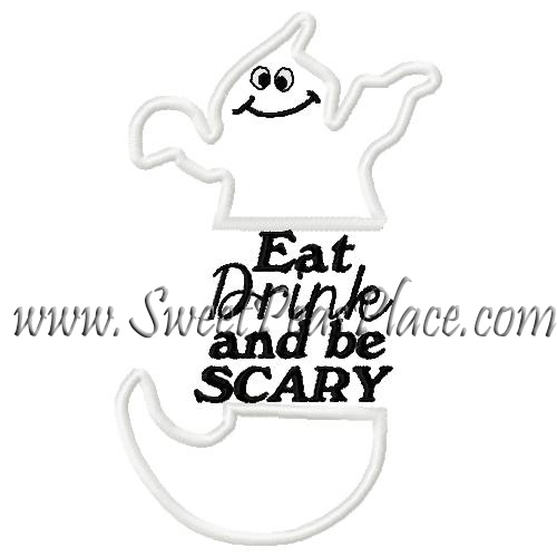 Eat Drink and Be Scary Applique Embroidery Design