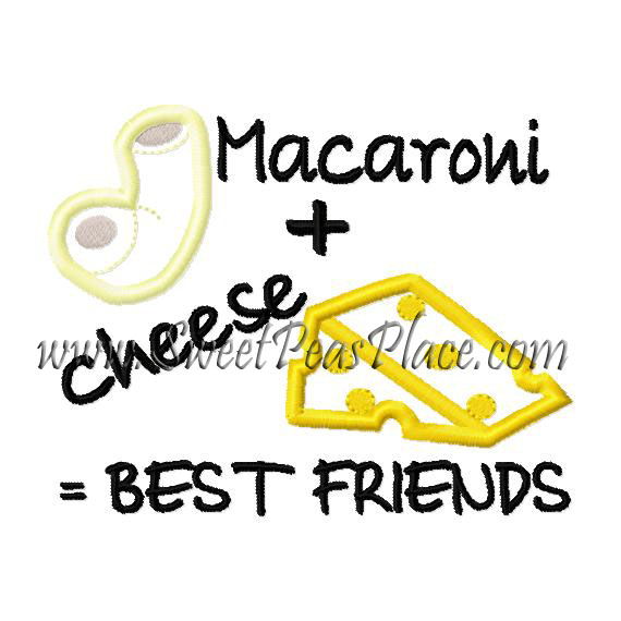 Macaroni and Cheese Best Friends Applique Embroidery Design